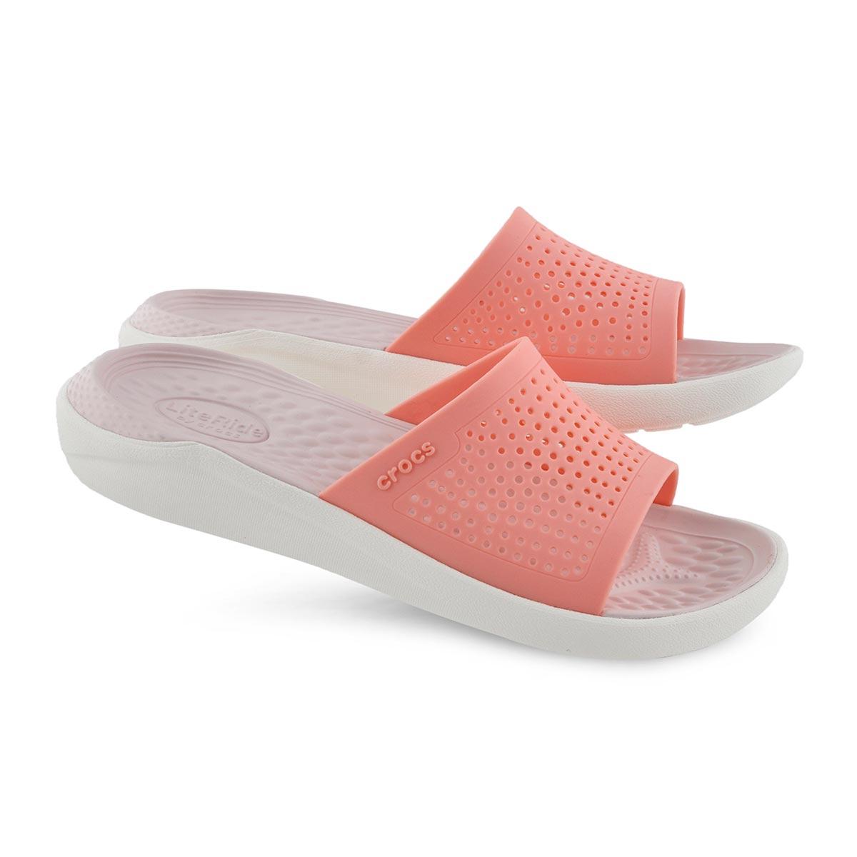 Lds LiteRide melon/wht slide sandal