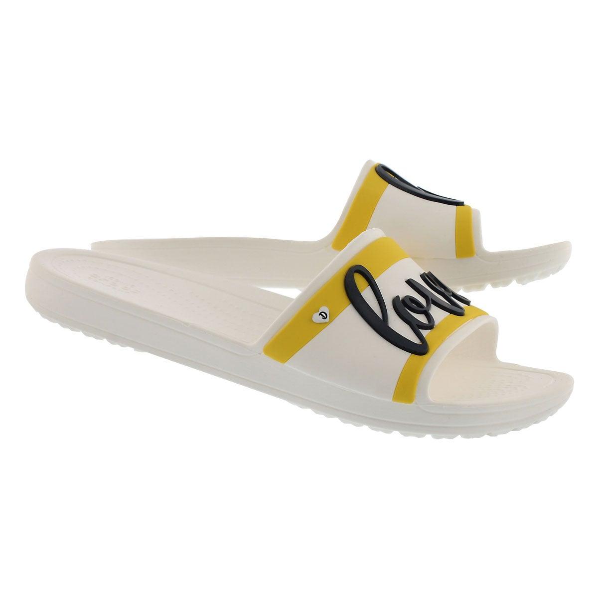 Lds Drew Sloane Slide wht/blk sandal