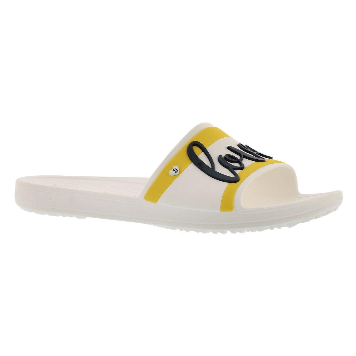 Women's DREW SLOANE SLIDE wht/blk sandals