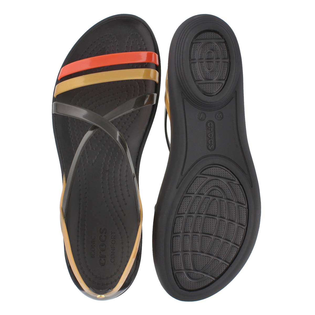 Lds Drew Isabella Strappy blk/gld sandal