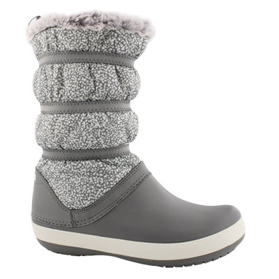 Lds Crocband dots/smk wtpf winter boot