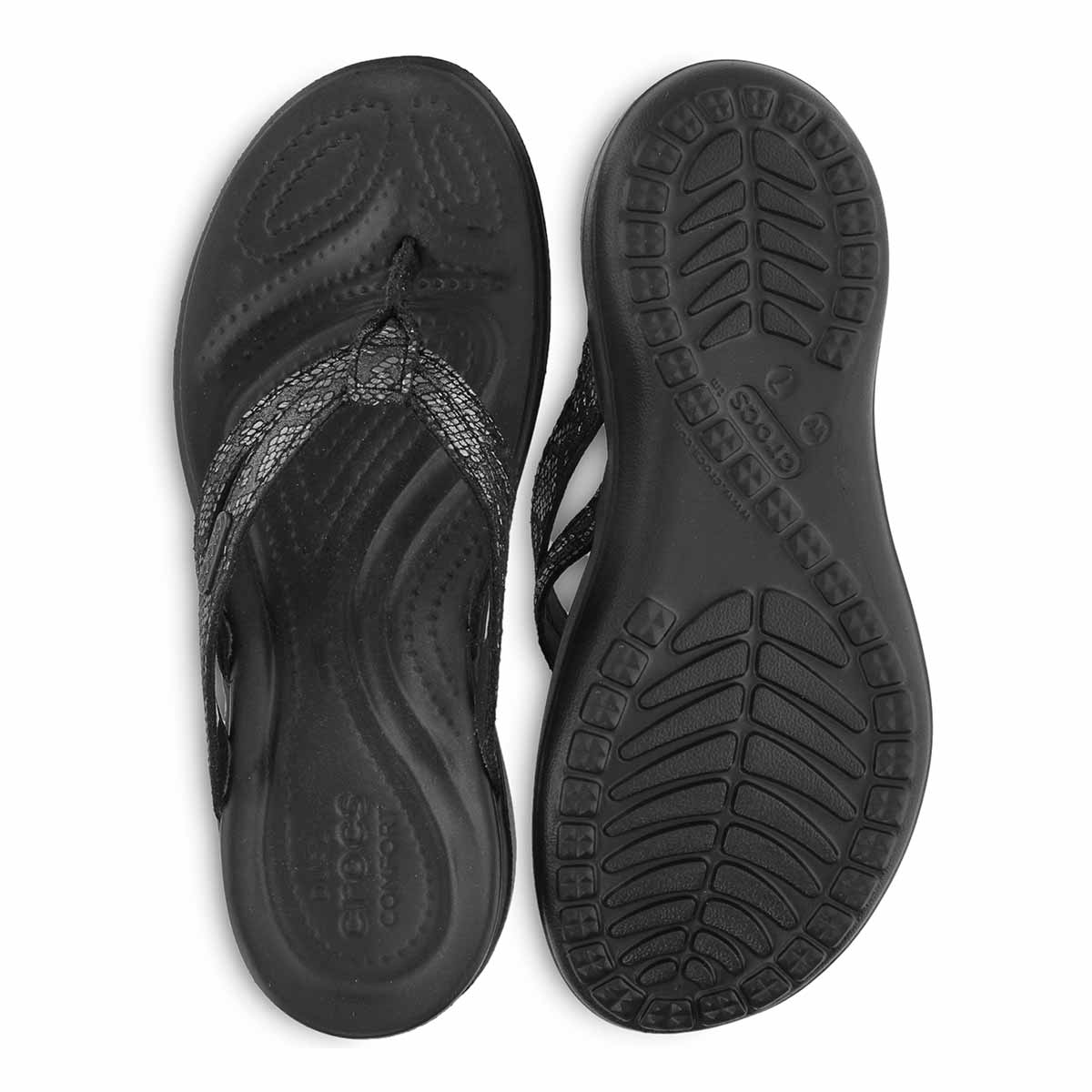 Lds Capri Strappy black thong sandal