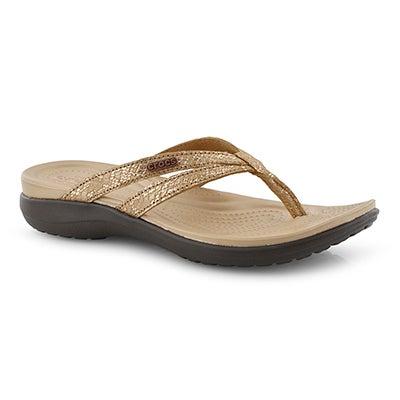 Lds Capri Strappy bronze thong sandal