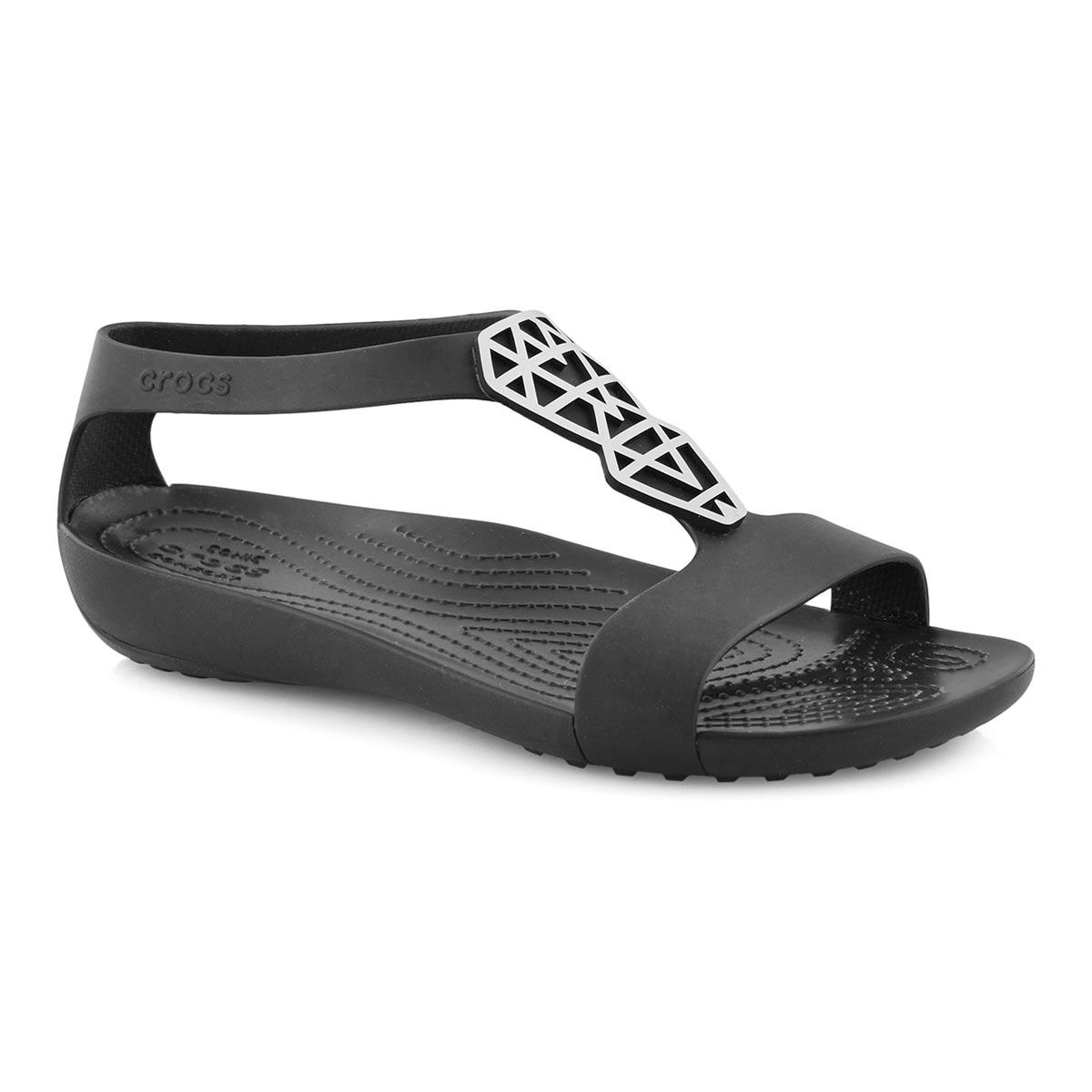 Lds Serena Embellish blk/slvr sandal
