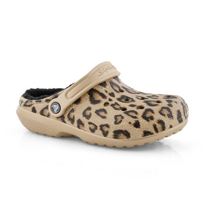 Lds Classic Printed Lined leo/blk clog