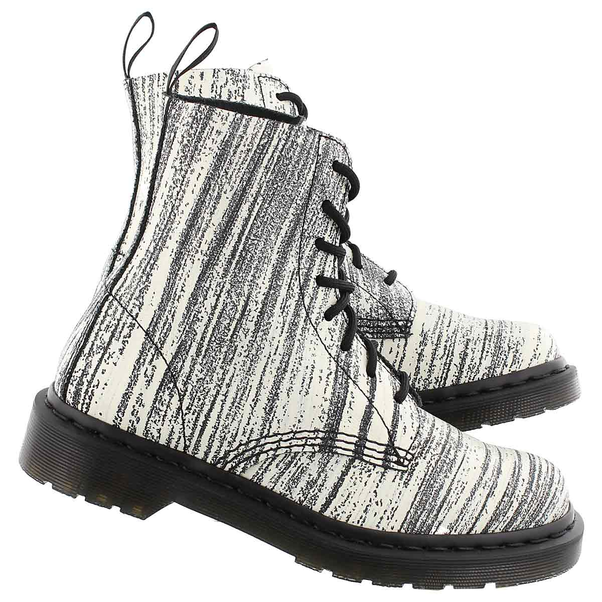 Lds Pascal 8-Eye wht/blk combat boot