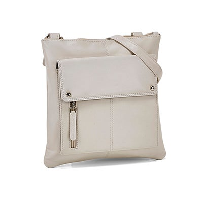 Lds cream sheep lthr RFID crossbody bag