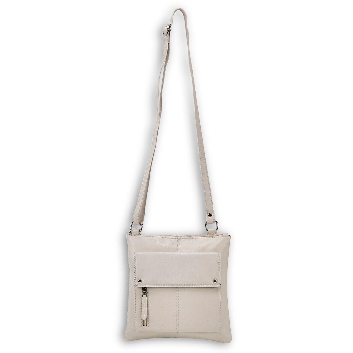 Lds cream sheep lthr RFID crossbody bag