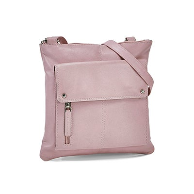 Lds pink sheep lthr RFID crossbody bag