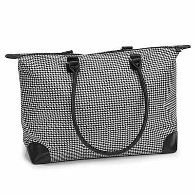 Lds black/white large tote hand bag