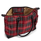Lds red plaid large tote hand bag