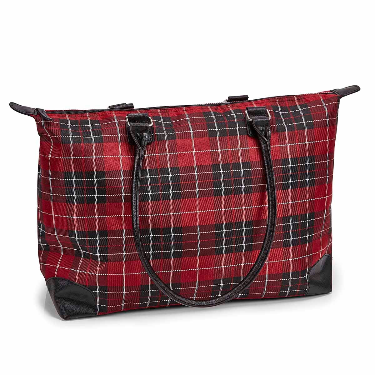 Women's red plaid large tote bag