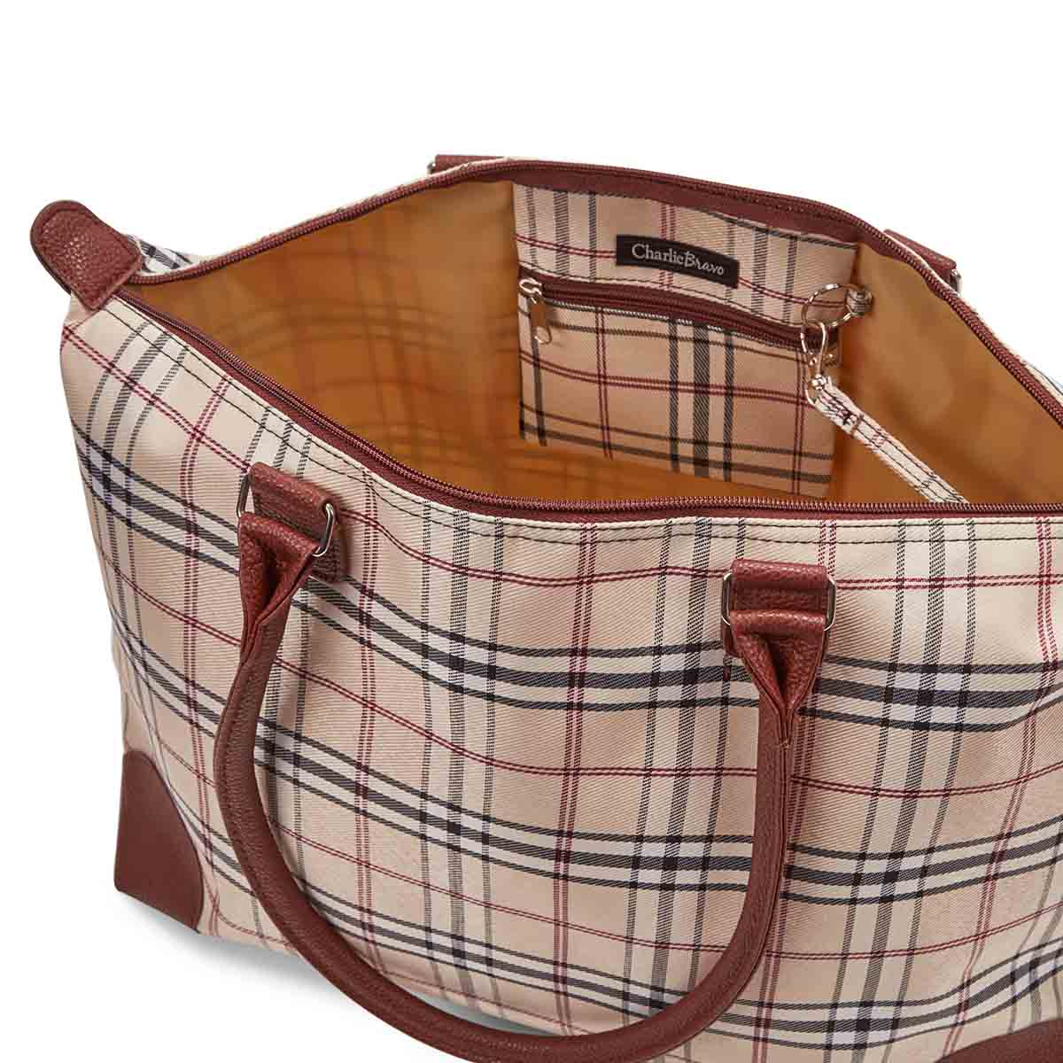 Lds sand plaid large tote hand bag