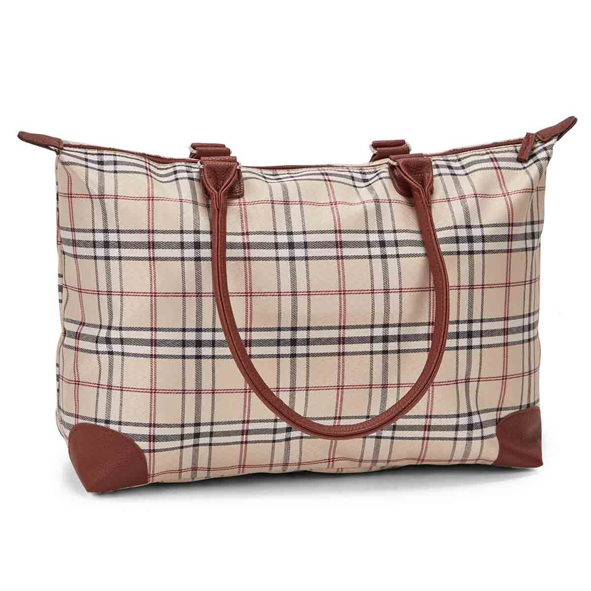 Women's sand PLAID large tote