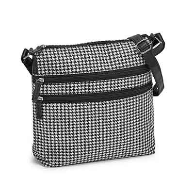 Charlie Bravo Women's black/white houndstooth cross body bag