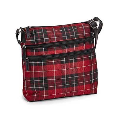 Lds red plaid cross body bag