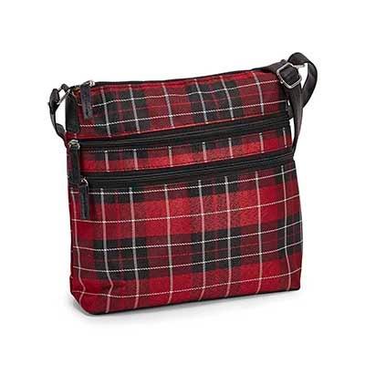 Lds red plaid cross body bag