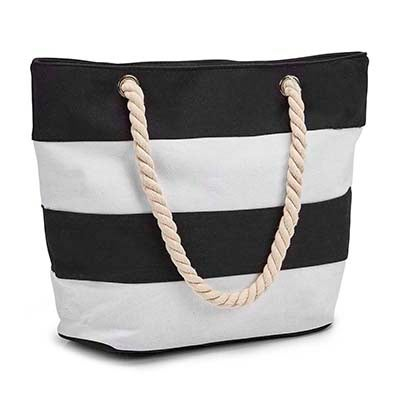 Lds black/white stripes tote hand bag