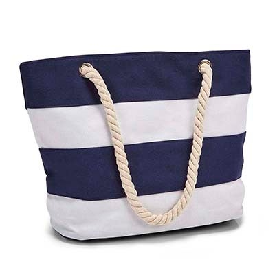 Lds navy/white stripes tote hand bag