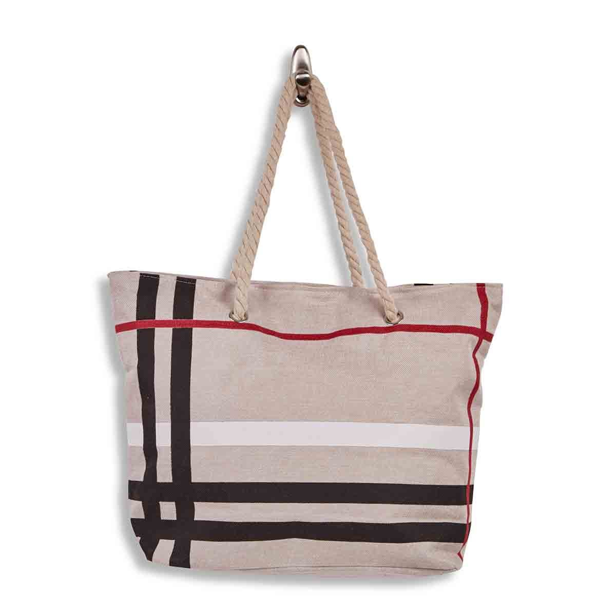 Lds beige large canvas tote bag