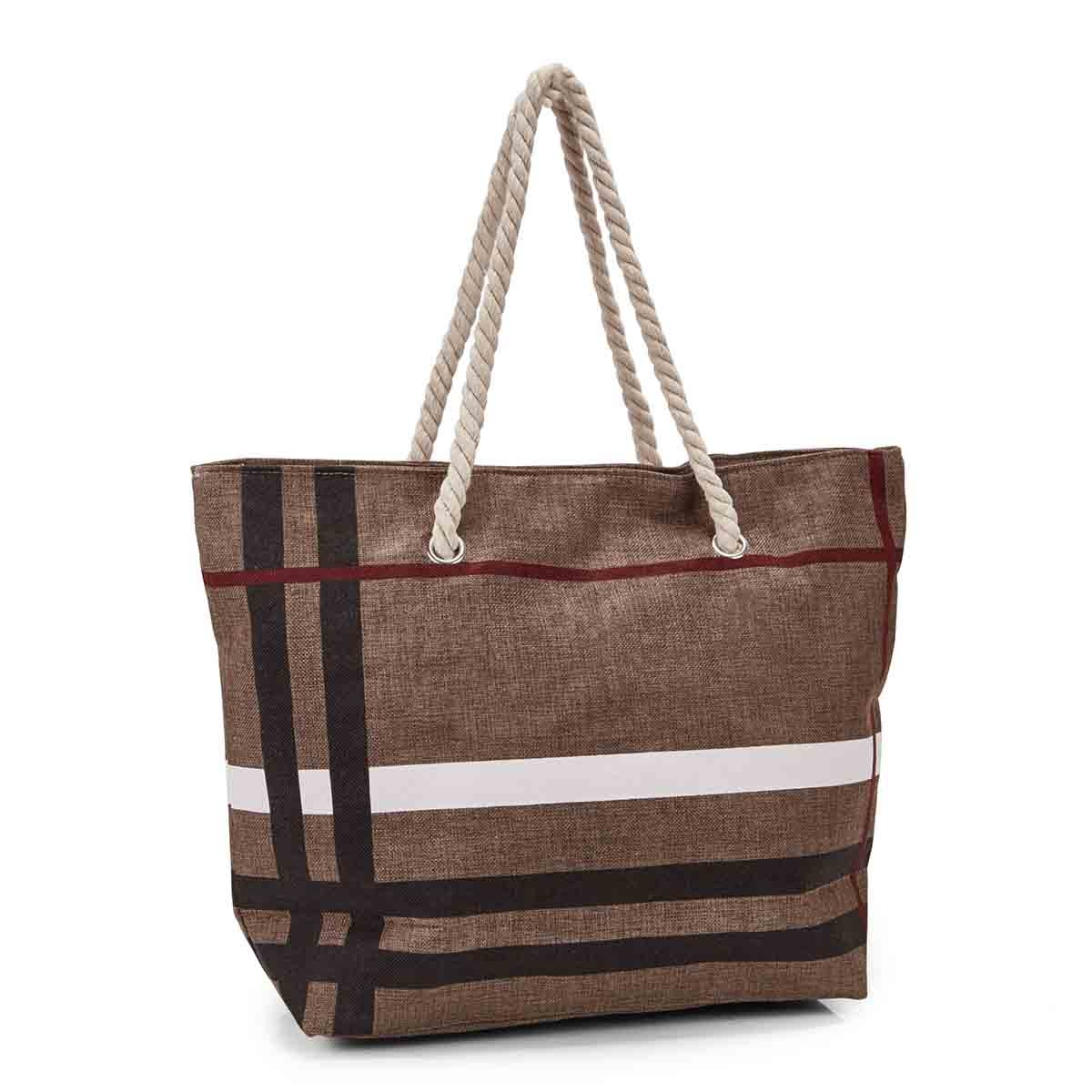 Women's camel canvas tote bag