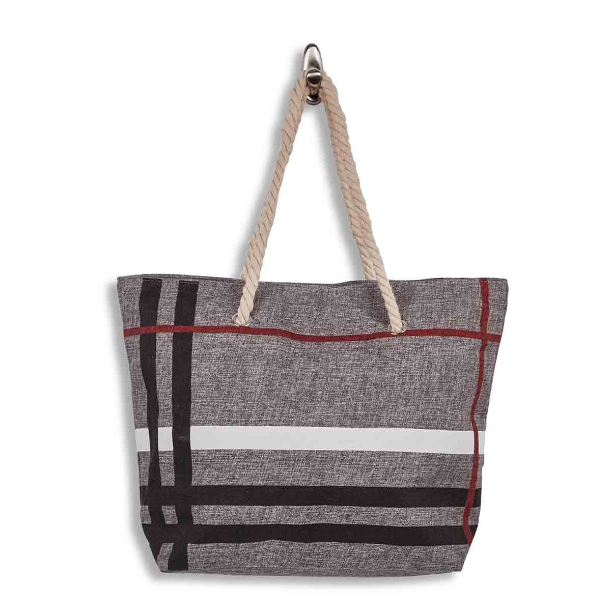 Lds grey large canvas tote bag