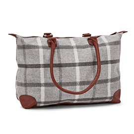 Lds grey large flannel tote bag