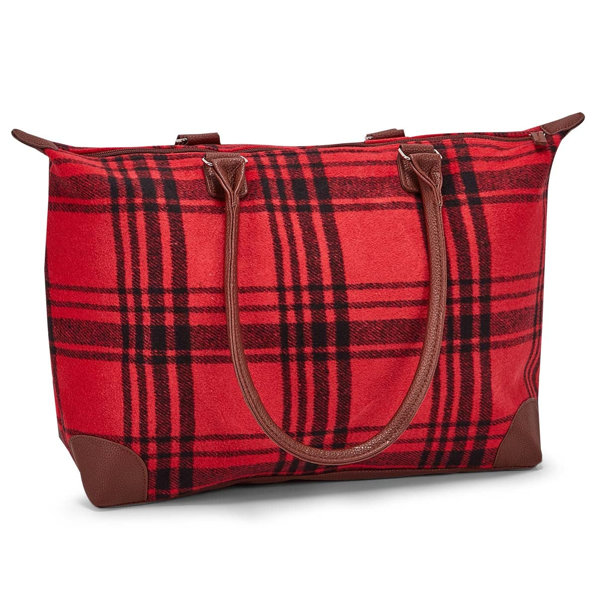 Women's red large flannel tote bag