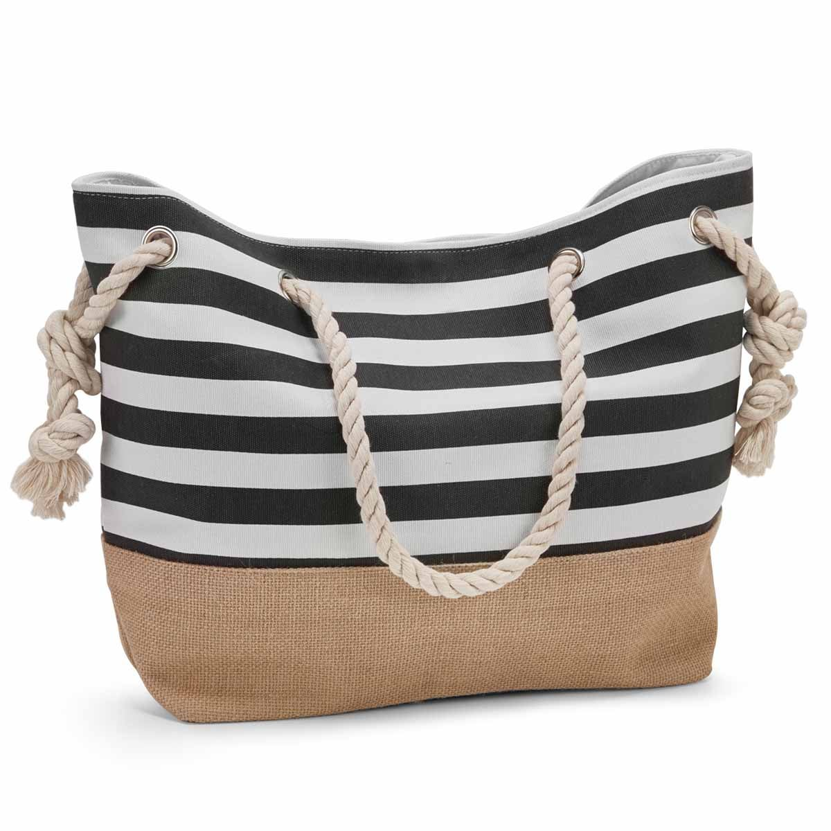 Lds blk/wht large canvas tote bag