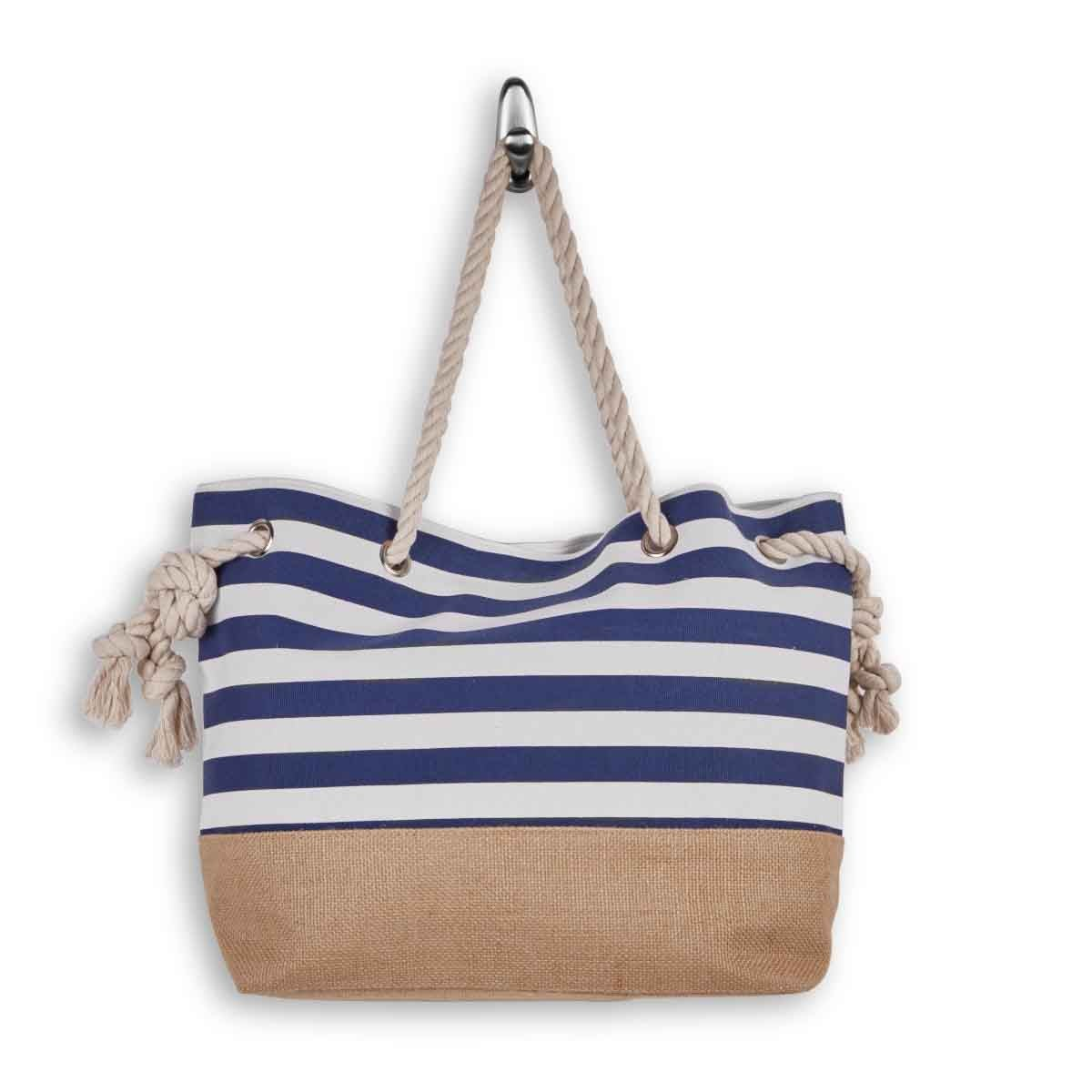Lds nvy/wht large canvas tote bag