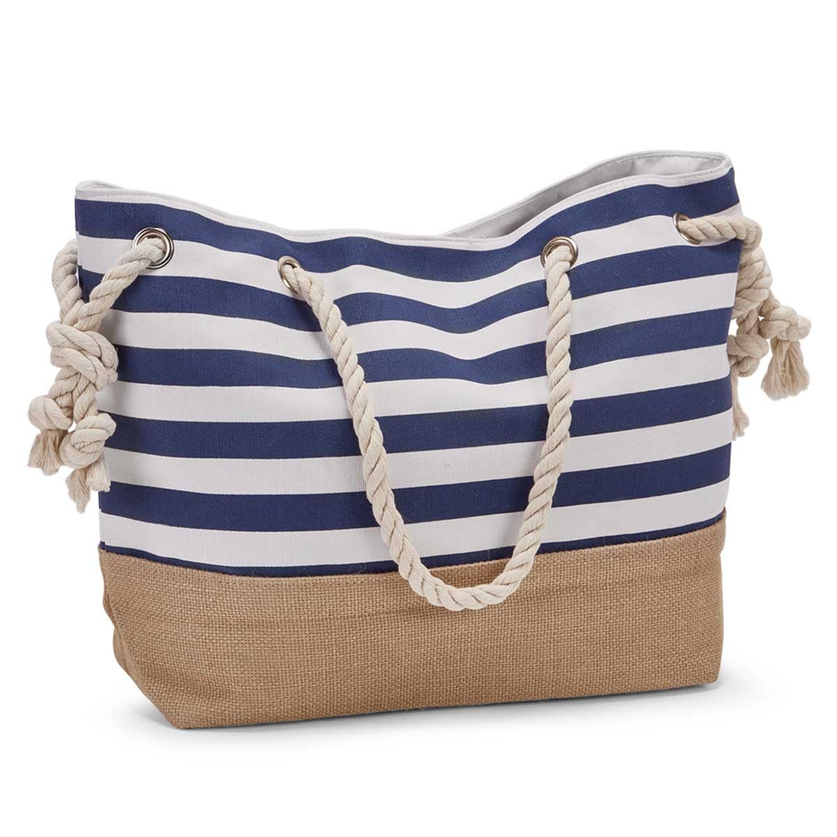 Women's navy & white stripe canvas tote bag