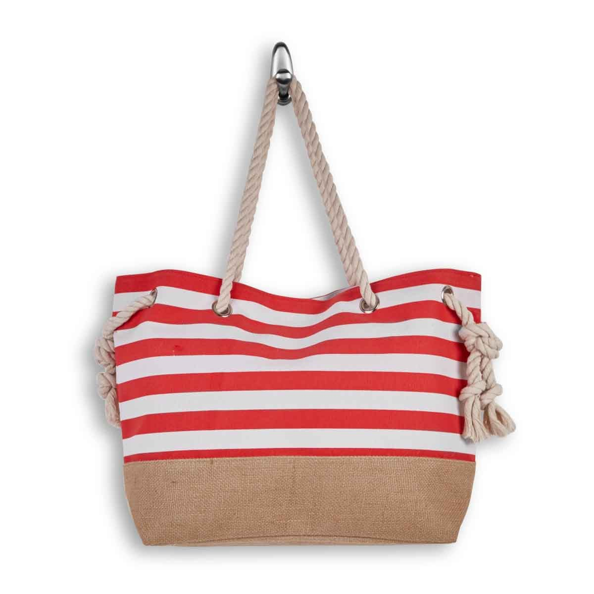 Lds red/wht large canvas tote bag