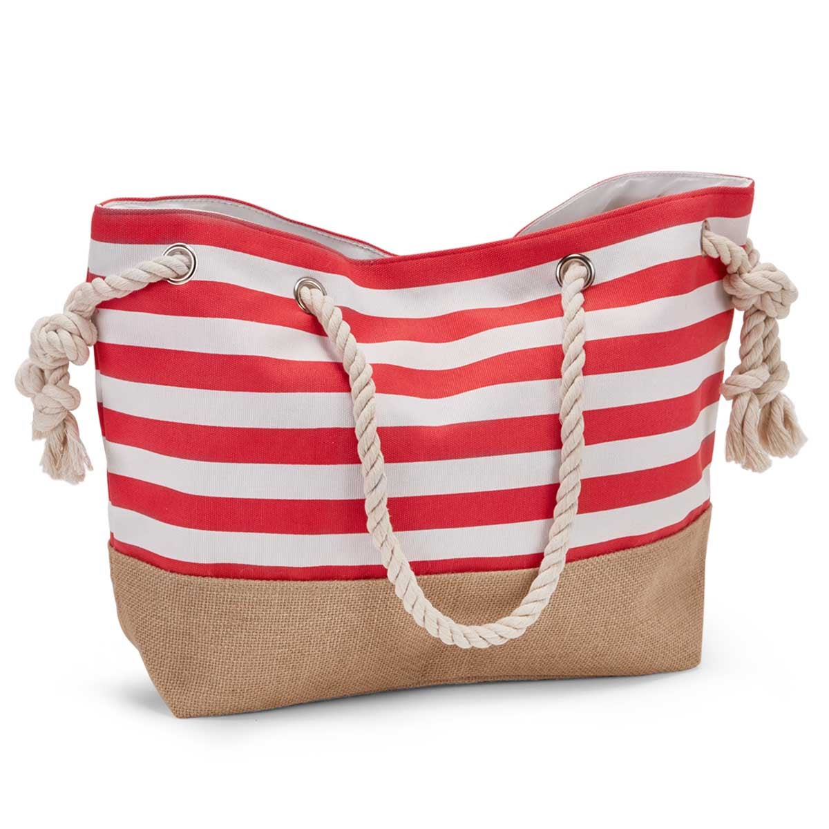 Women's red & white stripe canvas tote bag