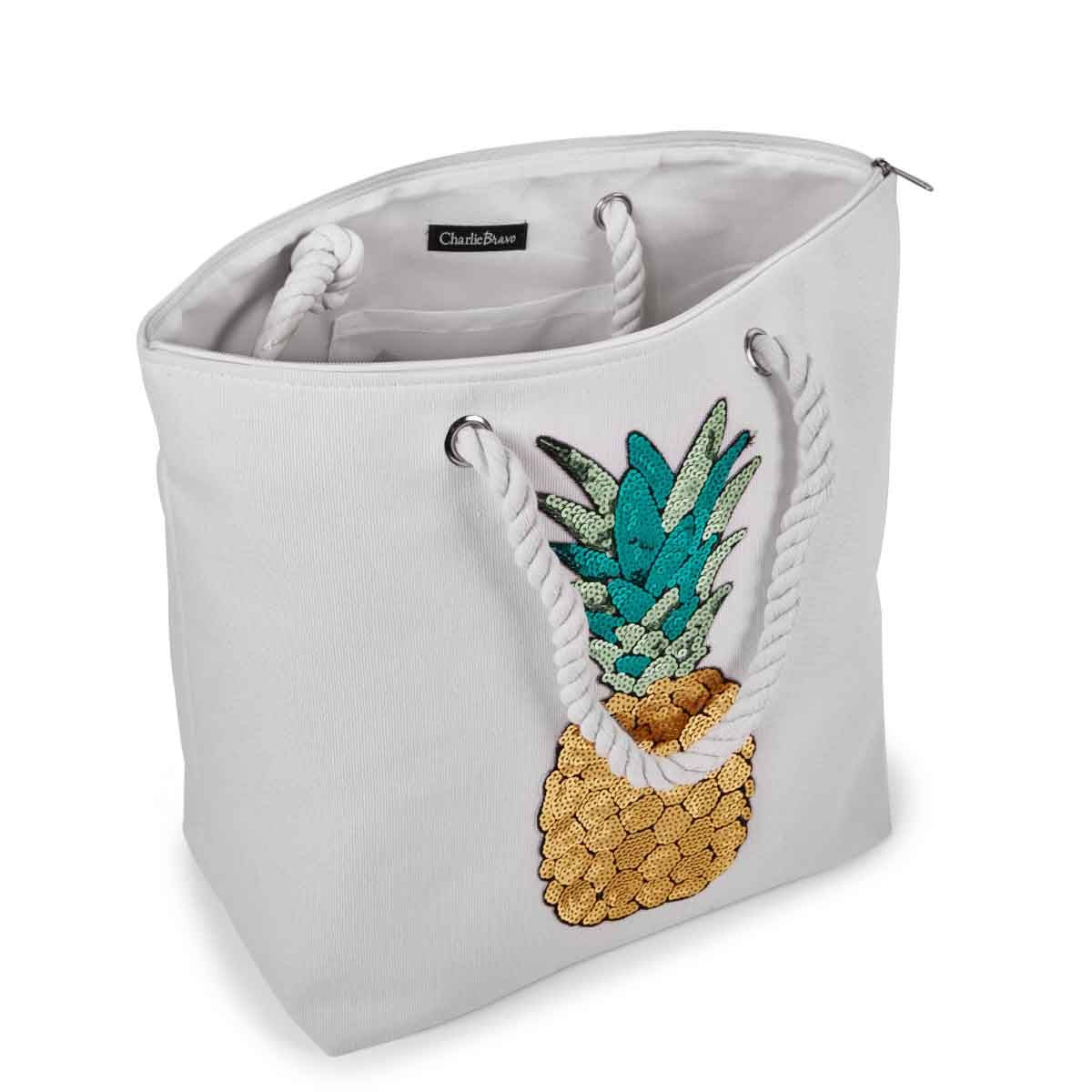Lds wht pineapple large canvas tote bag