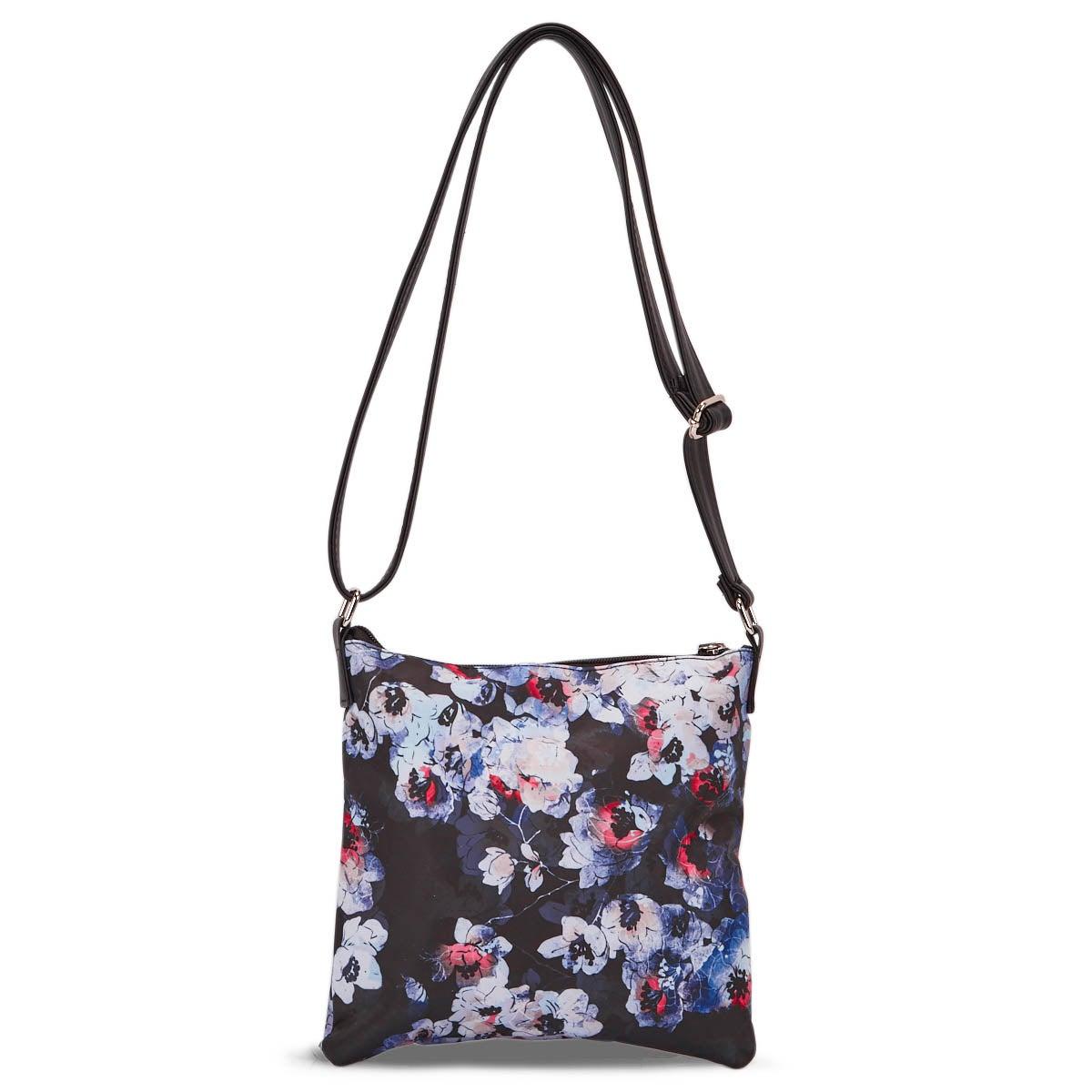 Lds black/multi flower cross body bag