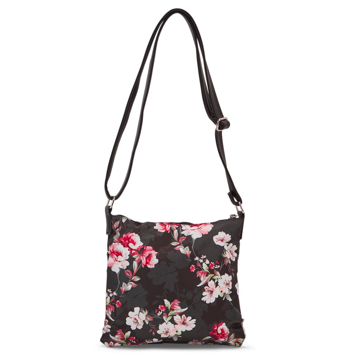 Lds black/pink flower cross body bag