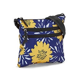 Lds blue/yellow flower cross body bag