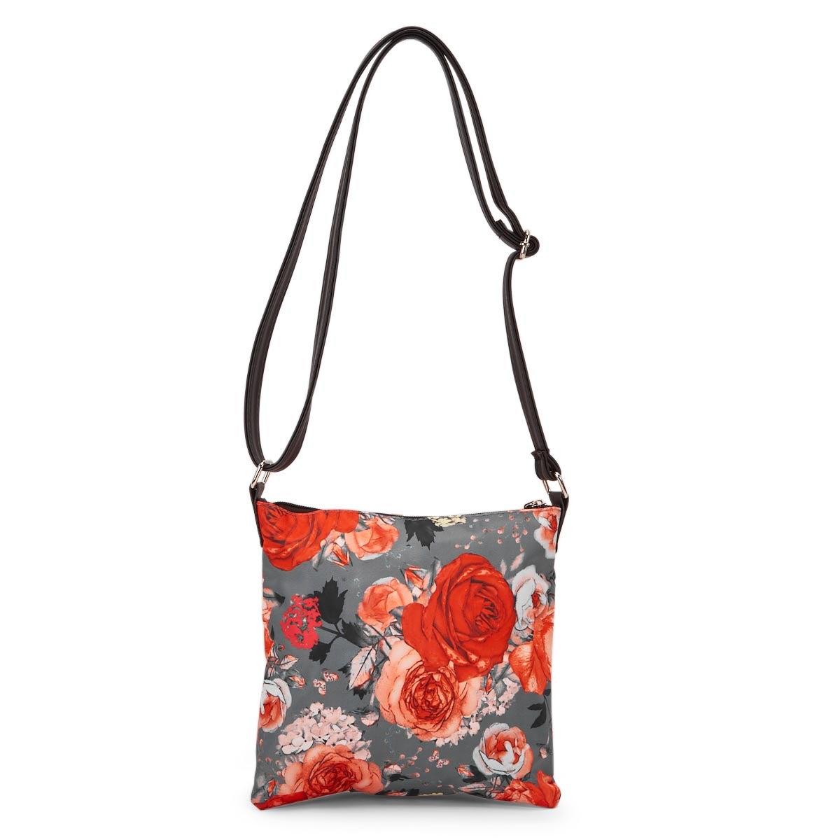 Lds grey/orng flower cross body bag