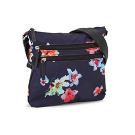 Lds navy/multi flower cross body bag