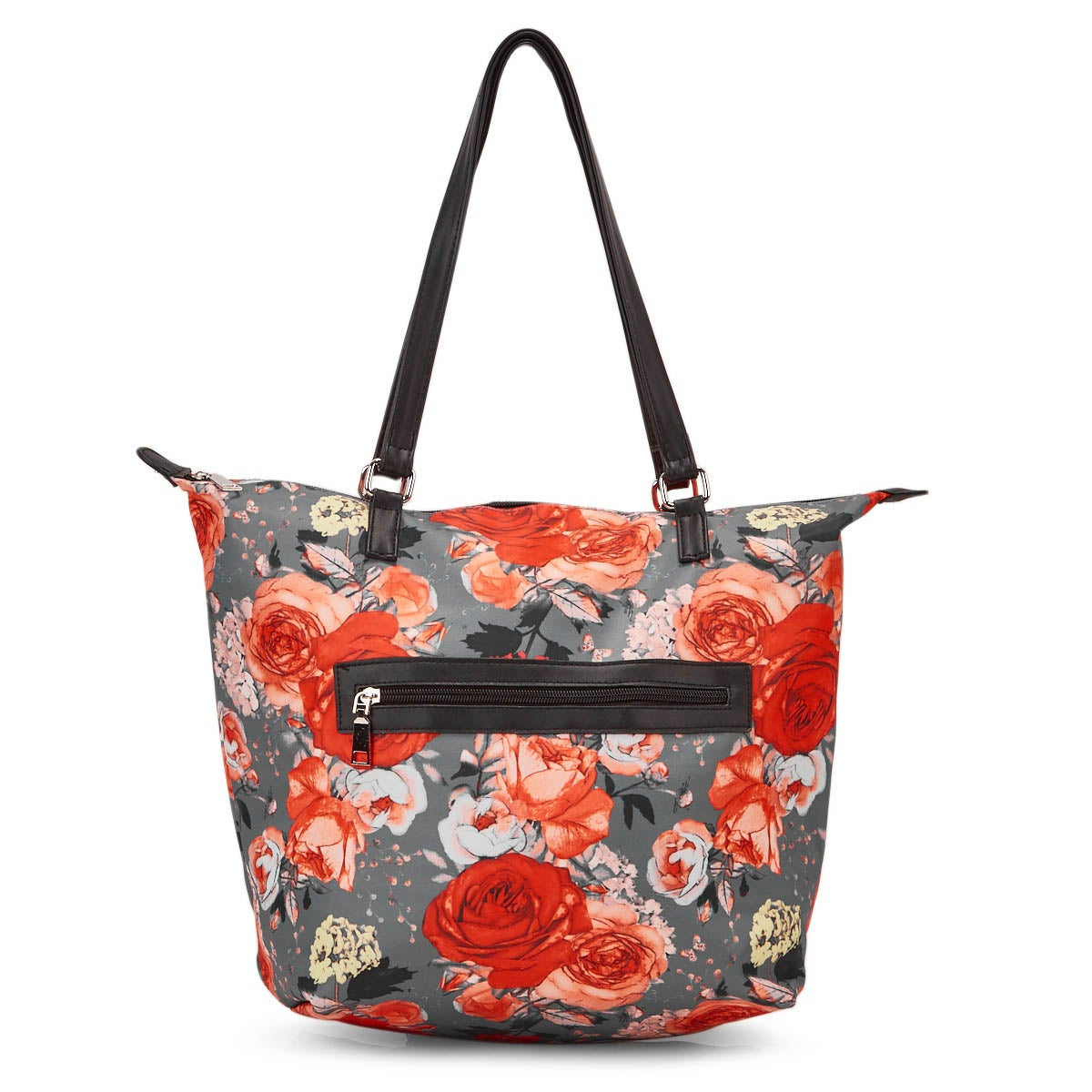 Lds grey/orng flower tote hand bag