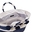 Lds navy/white straw tote hand bag