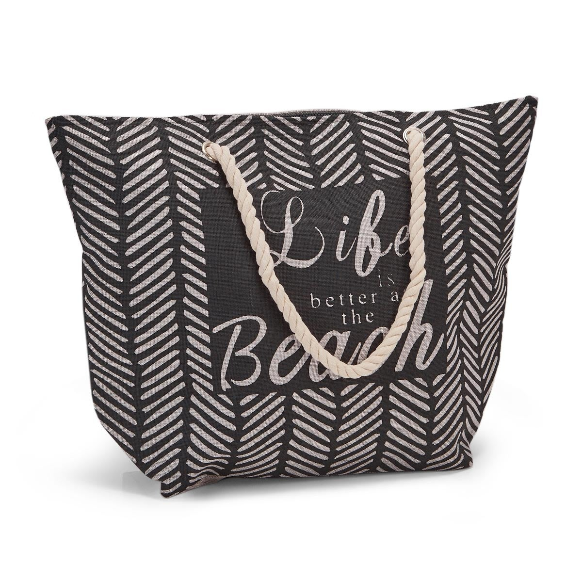 Lds blk/wht large quote tote hand bag