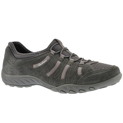 Skechers Women's BREATHE-EASY BIG BUCKS charcoal slip on