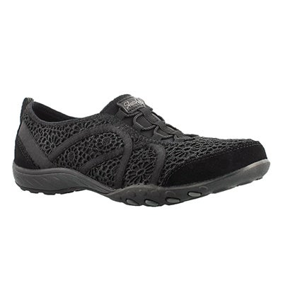 Skechers Women's MEADOWS black crochet bungee sneakers