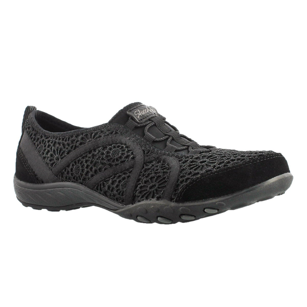 Lds Meadows black crochet bungee sneaker