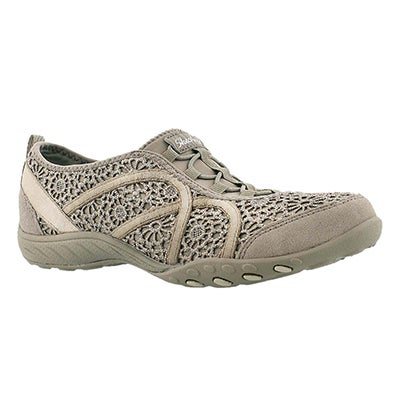 Skechers Women's MEADOWS taupe crochet bungee sneakers