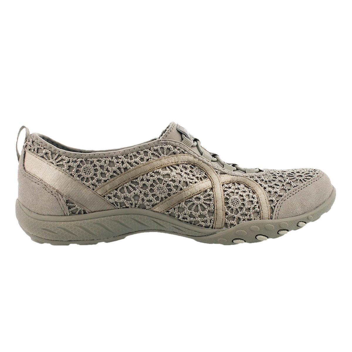 Lds Meadows taupe crochet bungee sneaker