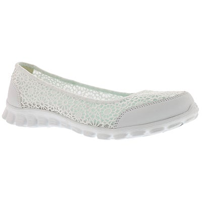 Skechers Women's FLEX 2 SWEETPEA white skimmers
