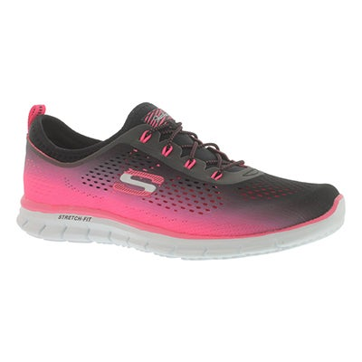 Skechers Women's FEARLESS pink/black bungee sneakers