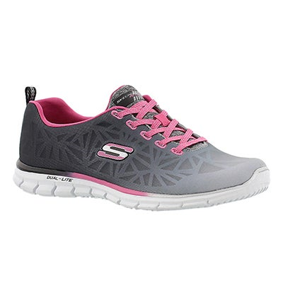 Skechers Women's ZEALOUS black/pink slip on sneakers